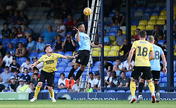 Nathan Ralph of Southend United  climbs up for a header - Mandatory by-line: Arron Gent/JMP - 24/07/2019 - FOOTBALL - Roots Hall - Southend-on-Sea, England - Southend United v Millwall - pre season friendly