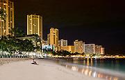 Waikiki Beach before dawn.  Honolulu, Hawaii