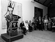 19/08/1988<br /> 08/19/1988<br /> 19 August 1988<br /> Opening of ROSC '88 at the Guinness Hop Store, Dublin. Patrick Murphy, ROSC Chairman,  talks at the exhibition opening,  with President Patrick Hillery (second from left) who officially opened the exhibition.