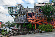 Photo showing the Mushroom House, at the corner of Erie and Tarpis in Hyde Park, Cincinnati, Ohio.