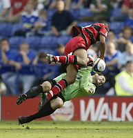 Photo: Aidan Ellis.<br /> Leicester City v Queens Park Rangers. Coca Cola Championship. 15/09/2007.<br /> Leicester's keeper Marton Fulop makes a brave save from QPR's Dexter Blackstock