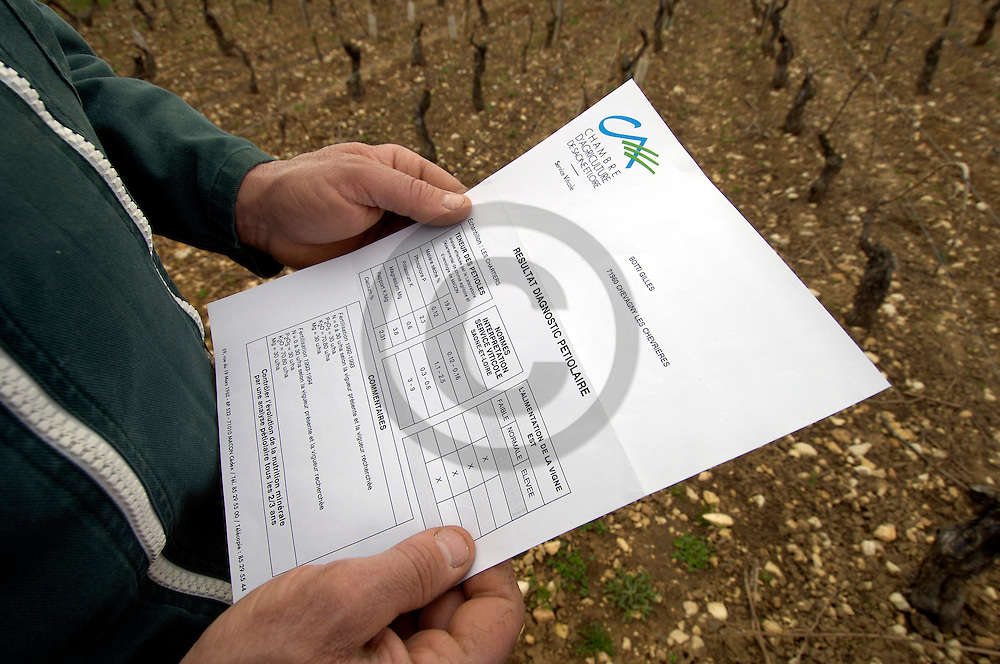 29/03/05 - CHEVAGNY LES CHEVRIERS - SAONE ET LOIRE - FRANCE - EARL BOTTI BALIGRAND - Agriculture raisonnee. Analyse des sols - Photo Jerome CHABANNE