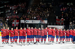 Team Norway celebrate after winning during the 2017 IIHF Men's World Championship group B Ice hockey match between National Teams of Norway and France, on May 6, 2017 in Accorhotels Arena in Paris, France. Photo by Vid Ponikvar / Sportida