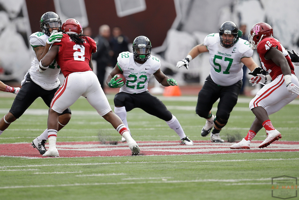 04 October 2014: North Texas Mean Green running back Antoinne Jimmerson (22)  as the Indiana Hoosiers played North Texas in a NCAA college football game in Bloomington, IN.