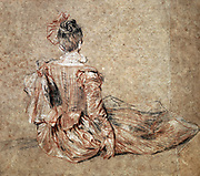 Seated woman viewed from the back . Drawing in black and red chalk.   Jean-Antoine Watteau (1684-1721) French Rococo painter