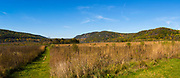 Panoramic view of a prairie on the east side of Devli's Lake State Park, near Baraboo, Sauk County, Wisconsin.