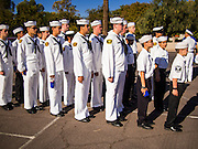 "11 NOVEMBER 2013 - PHOENIX, AZ: Sea Cadets, a society of high school students interested in joining the US Navy, line up before the Veterans Day Parade in Phoenix. The Phoenix Veterans Day Parade is one of the largest in the United States. Thousands of people line the 3.5 mile parade route and more than 85 units participate in the parade. The theme of this year's parade is ""saluting America's veterans.""     PHOTO BY JACK KURTZ"