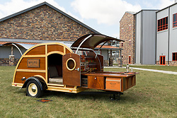 Woody a traveling bourbon camper sits outside the Bulleit Distilling Co., after a ribbon cutting with parent company Diageo, Tuesday, March 14, 2017 at Bulleit Distilling Company in Shelbyville.