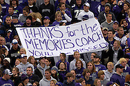 Kansas State fans show their support for Coach Bill Snyder before Coach Snyders' last game at Bill Snyder Family Stadium in Manhattan, Kansas, November 19, 2005.