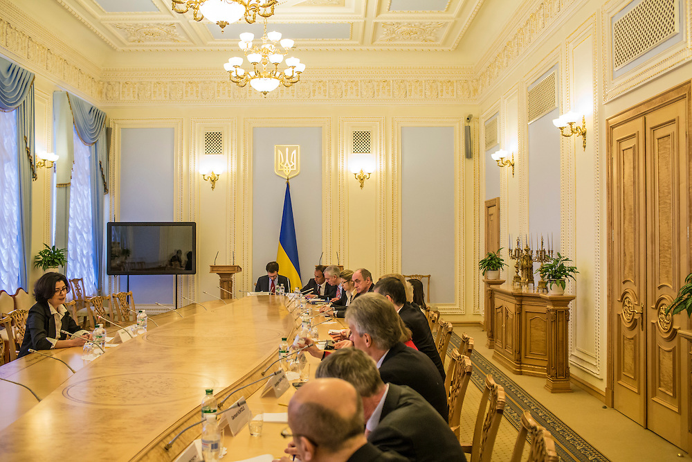 KIEV, UKRAINE - MARCH 4, 2016: Oksana Syroyid, left, deputy speaker of the Ukrainian parliament, conducts a meeting with ambassadors from the Council of Europe in Kiev, Ukraine. Syroyid is one of parliament's main opponents of the constitutional reforms called for in the Minsk agreement intended to resolve fighting in eastern Ukraine. CREDIT: Brendan Hoffman for The New York Times