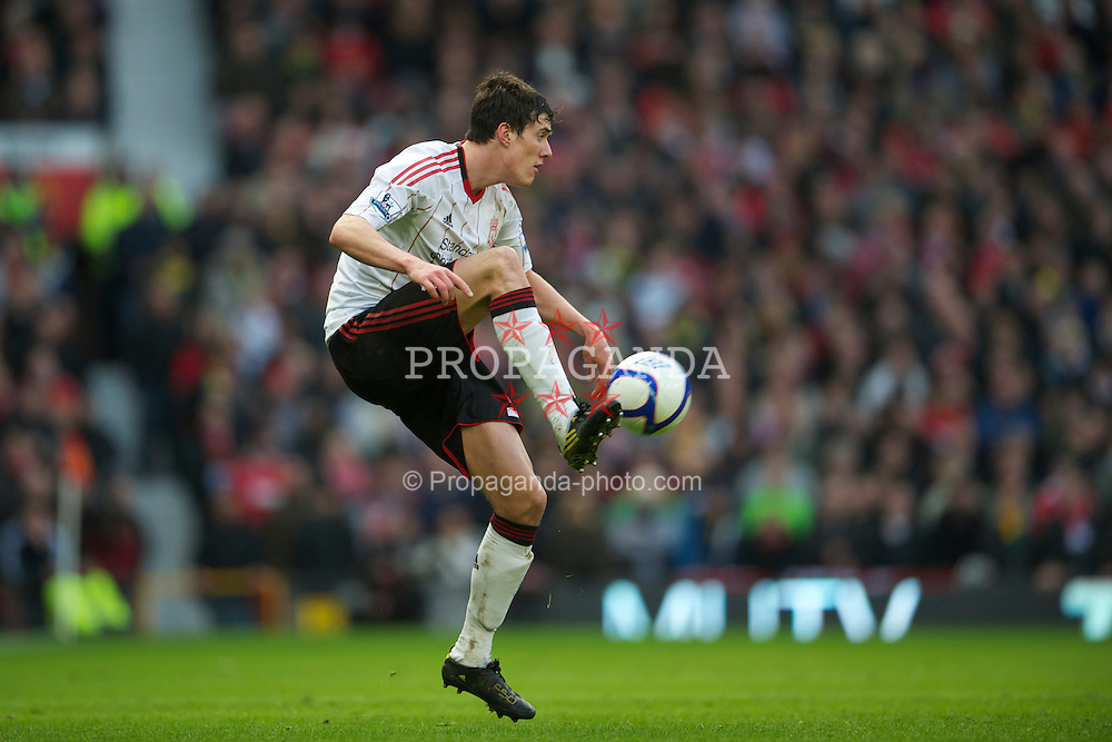 MANCHESTER, ENGLAND - Sunday, January 9, 2011: Liverpool's Martin Kelly in action against Manchester United during the FA Cup 3rd Round match at Old Trafford. (Photo by: David Rawcliffe/Propaganda)