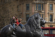 Tourist family sit on one of one of the four lions designed by Landseer at the base of Nelson's Column in Trafalgar Square.