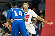 DALLAS, TX - DECEMBER 17: Jarrey Foster #10 of the SMU Mustangs defends against Brian Darden #14 of the Hampton Pirates on December 17, 2015 at Moody Coliseum in Dallas, Texas.  (Photo by Cooper Neill/Getty Images) *** Local Caption *** Jarrey Foster