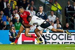 England Winger Anthony Watson is tackled by Fiji Winger Waisea Nayacalevu - Mandatory byline: Rogan Thomson/JMP - 07966 386802 - 18/09/2015 - RUGBY UNION - Twickenham Stadium - London, England - England v Fiji - Rugby World Cup 2015 Pool A.