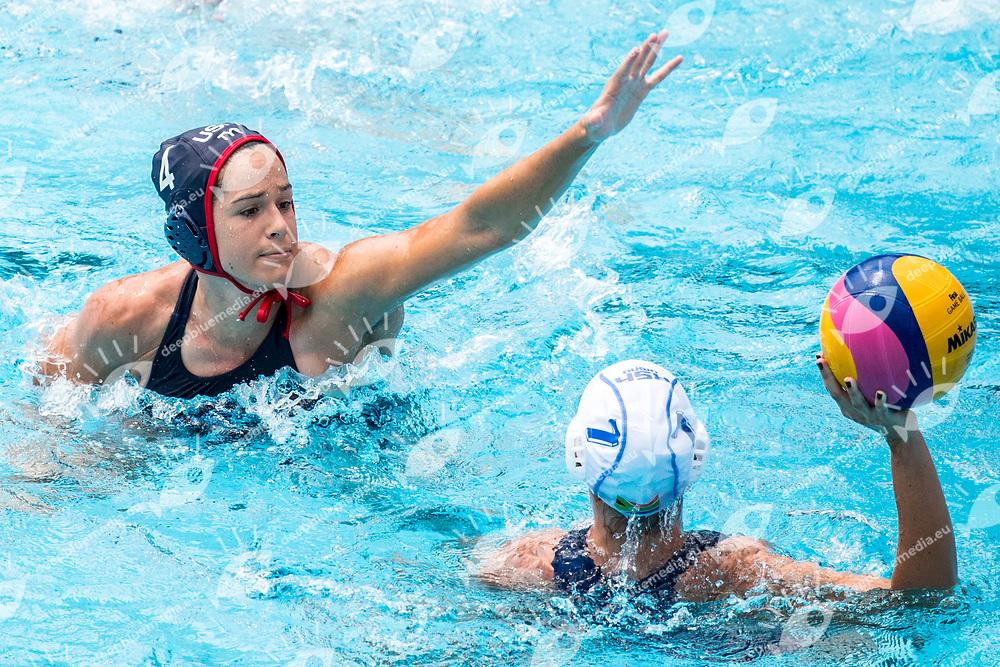FATTAL Rachel USA, 7    WESSELS Carly Joy RSA  <br /> RSA (white cap) -  USA (blue cap)<br /> Preliminary Round Water Polo<br /> Day03  16/07/2017 <br /> XVII FINA World Championships Aquatics<br /> Alfred Hajos Complex Margaret Island  <br /> Budapest Hungary <br /> Photo @ Deepbluemedia/Insidefoto