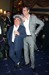 Left to right,comedian RONNIE CORBETT and comic actor NEIL MORRISSEY at an after show party following the opening night of Acorn Antiques - The Musical at The Theatre Royal, Haymarket and held at The Cafe de Paris, Coventry Street, London on 10th February 2005.<br /><br />NON EXCLUSIVE - WORLD RIGHTS