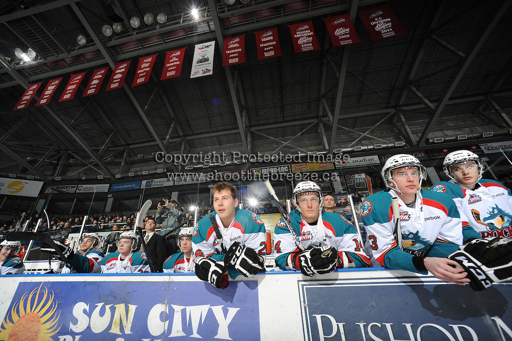 KELOWNA, CANADA, FEBRUARY 17: The Kelowna Rockets stand on the bench opposite the Calgary Hitmen at the Kelowna Rockets on February 17, 2012 at Prospera Place in Kelowna, British Columbia, Canada (Photo by Marissa Baecker/Shoot the Breeze) *** Local Caption ***