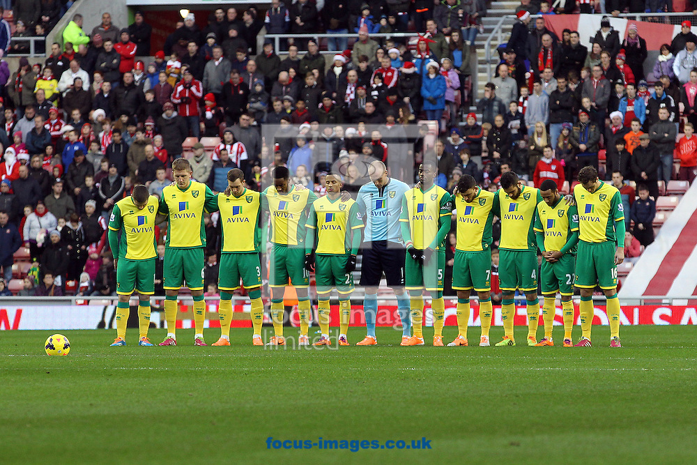 Picture by Paul Chesterton/Focus Images Ltd +44 7904 640267<br /> 21/12/2013<br /> Players, fans and Officials observe a one minutes silence before the Barclays Premier League match at the Stadium Of Light, Sunderland.
