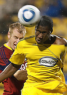 27 MARCH 2010:  Real Salt Lakes' Nat Borchers (6) and Andy Iro of the Columbus Crew (6) during the Real Salt Lake at Columbus Crew MLS soccer game in Columbus, Ohio. Columbus Crew defeated RSL 1-0 on April 24, 2010.
