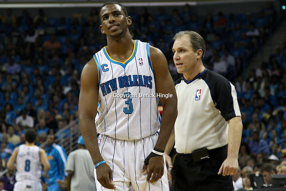 April 28, 2011; New Orleans, LA, USA; New Orleans Hornets point guard Chris Paul (3) reacts to an official during the second quarter in game six of the first round of the 2011 NBA playoffs against the Los Angeles Lakers at the New Orleans Arena.    Mandatory Credit: Derick E. Hingle