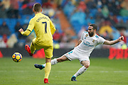 Real Madrid's Spanish defender Dani Carvajal vies for the ball during the Spanish championship Liga football match between Real Madrid and Villarreal on January 13, 2018 at Santiago Bernabeu stadium in Madrid, Spain - Photo Benjamin Cremel / ProSportsImages / DPPI