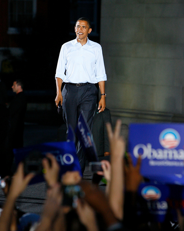 Illinois Senator and Democratic presidential candidate Barack Obama addresses a campaign rally at Washington Square Park, Manhattan