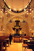 Israel, Jerusalem, Old City, Jewish Quarters, Interior of the recently reconstructed RAMBAN Synagogue (AKA The Hurva Synagogue). The Synagogues was destroyed in 1948