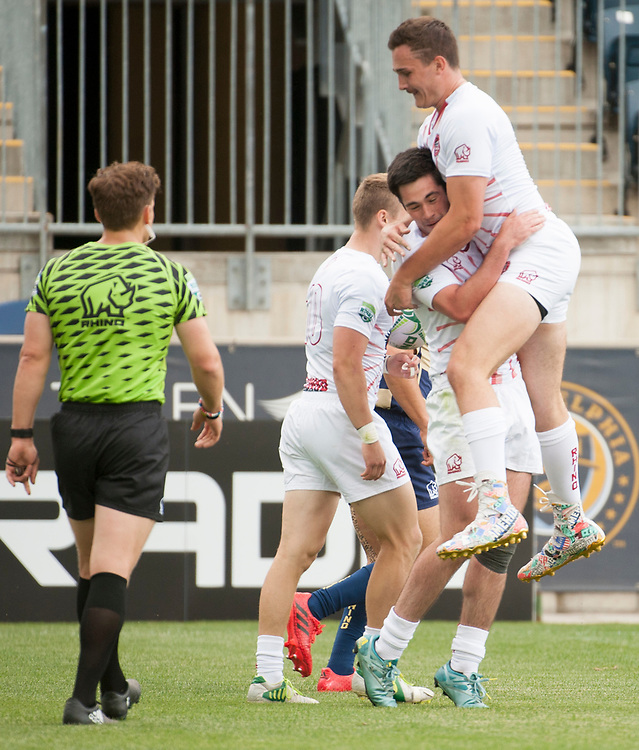 St. Joseph's University and Navy compete in pool play of the 2017 Penn Mutual Collegiate Rugby Championship at Talen Energy Stadium in Philadelphia. June 3, 2017. <br /> <br /> By Jack Megaw.<br /> <br /> www.jackmegaw.com<br /> <br /> jack@jackmegaw.com<br /> @jackmegawphoto<br /> [US] +1 610.764.3094<br /> [UK] +44 07481 764811