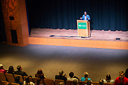 Al Letson speaks to students, staff and faculty during the Challenging Dialogues series on April 22, 2019 in Baker Theater. Photo by Hannah Ruhoff