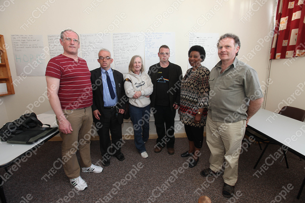 Liam Minogue, Brian Hogan, Annmarie O Connell, Daniel Meehan, Felicia Peter and Patrick Brassil pictured at Emotions Peer Support Centre Ennis.<br /> Pic. Brian Arthur/ Press 22.