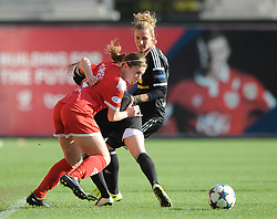 Bristol Academy's Sharla Passariello jostles for the ball with FFC Frankfurt's Ana Maria Crnogorcevic - Photo mandatory by-line: Dougie Allward/JMP - Mobile: 07966 386802 - 21/03/2015 - SPORT - Football - Bristol - Ashton Gate Stadium - Bristol Academy v FFC Frankfurt - UEFA Women's Champions League - Quarter Final - First Leg