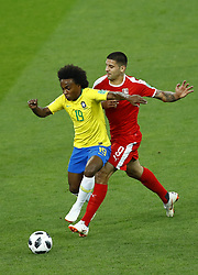 June 27, 2018 - Moscow, Russia - Group E Serbia v Brazil - FIFA World Cup Russia 2018.Willian (Brazil) and Aleksandar Mitrovic (Serbia) at Spartak Stadium in Moscow, Russia on June 27, 2018. (Credit Image: © Matteo Ciambelli/NurPhoto via ZUMA Press)