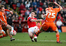 London, England - Saturday, January 12th, 2008:  Charlton Athletic's Matt Holland has a shot on goal against Blackpool during the League Championship match at The Valley. (Pic by Chris Ratcliffe/Propaganda)