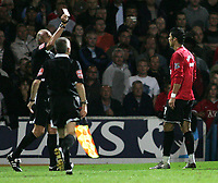 Photo: Lee Earle.<br /> Portsmouth v Manchester United. The FA Barclays Premiership. 15/08/2007.United's Cristiano Ronaldo is shown the red card.