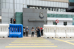 Security barriers outside Wanchai Police Station on Hong Kong Island installed as a result of recent civil protests.