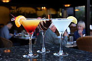 BRENDAN FITTERER  |  VISIT FLORIDA<br /> Tequila Sunrise Martini, Chocolate Espresso Martini, and Lemon Drop Martini at Mattison's City Grille downtown Sarasota, 1 North Lemon Ave Sarasota, FL 34236.