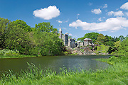 Belvedere Castle and Turtle Pond in summer season, Central Park, New York City.