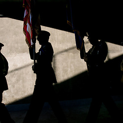 Members of the Treasure Valley Joint Military Honor Guard carries the flag into the Ford Idaho Center stadium during the 49th annual God and Country Festival in Nampa, Idaho. Thursday July 2, 2015