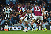 Newcastle United striker Yoan Gouffran (20) on the attack 0-1 during the EFL Sky Bet Championship match between Aston Villa and Newcastle United at Villa Park, Birmingham, England on 24 September 2016. Photo by Alan Franklin.