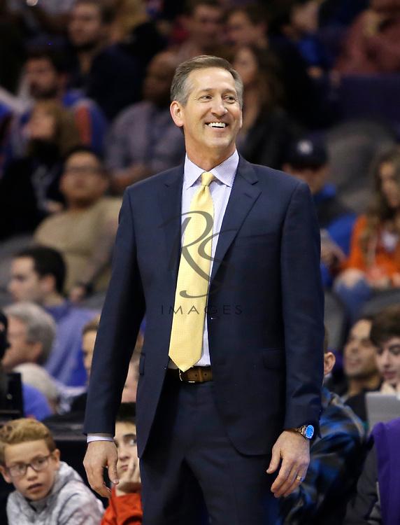 New York Knicks head coach Jeff Hornacek in the first half during an NBA basketball game against the Phoenix Suns, Friday, Jan. 26, 2018, in Phoenix. (AP Photo/Rick Scuteri)