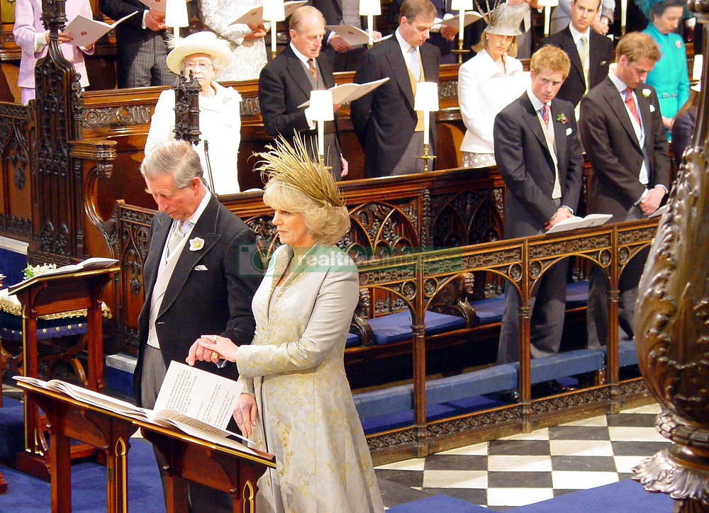 Prince Charles and his new wife Camilla Parker Bowles, with other members of the royal family, attend the wedding blessing at St George's Chapel in Windsor.<br />Anwar Hussein/allactiondigital.com