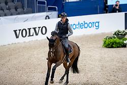 KÜHNER Max (AUT), Alfa Jordan<br /> Göteborg - Gothenburg Horse Show 2019 <br /> Longines FEI Jumping World Cup™ Final<br /> Training Session<br /> Warm Up Springen / Showjumping<br /> Longines FEI Jumping World Cup™ Final and FEI Dressage World Cup™ Final<br /> 03. April 2019<br /> © www.sportfotos-lafrentz.de/Stefan Lafrentz