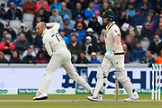 Jack Leach of England bowling during the International Test Match 2019, fourth test, day two match between England and Australia at Old Trafford, Manchester, England on 5 September 2019.