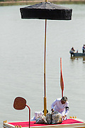 "05 FEBRUARY 2013 - PHNOM PENH, CAMBODIA: King-Father Norodom Sihanouk's ashes are placed aboard the Royal Barge that will carry them up the Mekong River where they will be scattered. Sihanouk's ashes will be scattered in locations across Cambodia. Tuesday, they were scattered on the Mekong River. Norodom Sihanouk (31 October 1922 - 15 October 2012) was the King of Cambodia from 1941 to 1955 and again from 1993 to 2004. He was the effective ruler of Cambodia from 1953 to 1970. After his second abdication in 2004, he was given the honorific of ""The King-Father of Cambodia."" Sihanouk died in Beijing, China, where he was receiving medical care, on Oct. 15, 2012.    PHOTO BY JACK KURTZ"