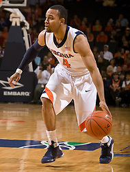 Virginia guard Calvin Baker (4) in action against FSU.  The Virginia Cavaliers fell to the Florida State Seminoles 73-62 in NCAA Basketball at the John Paul Jones Arena on the Grounds of the University of Virginia in Charlottesville, VA on January 24, 2009.