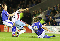 Photo: Pete Lorence.<br /> Leicester City v Aston Villa. Carling Cup. 24/10/2006.<br /> Juan Pablo Angel takes the score to 1-0.
