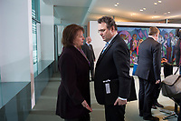 23 JAN 2013, BERLIN/GERMANY:<br /> Sabine Leutheusser-Schnarrenberger (L), FDP, Bundesjustizministerin, und Hans-Peter Friedrich (R), CSU, Bundesinnenminister, im Gespraech, vor Beginn der Kabinettsitzung, Bundeskanzleramt<br /> IMAGE: 20130123-01-004<br /> KEYWORDS: Kabinett, Sitzung, Gespräch