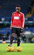 West Brom striker Saido Berahino during warm up during the Barclays Premier League match between Chelsea and West Bromwich Albion at Stamford Bridge, London, England on 13 January 2016. Photo by Matthew Redman.