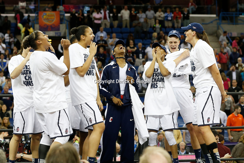 Apr 9, 2013; New Orleans, LA, USA; Connecticut Huskies celebrates after the championship game in the 2013 NCAA womens Final Four against the Louisville Cardinals at the New Orleans Arena. Connecticut defeated Louisville 93-60. Mandatory Credit: Derick E. Hingle-USA TODAY Sports