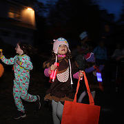 Children trick or treating on Halloween night in New Canaan, Connecticut, USA. 31st October 2013. Photo Tim Clayton